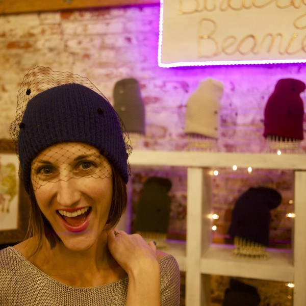 Purdie Baumann of Birdcage Beanie at Artists & Fleas in Williamsburg!