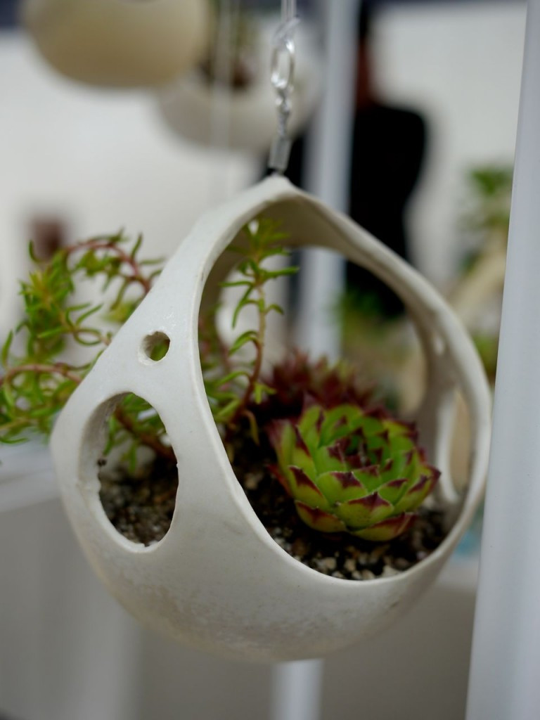 Hanging ceramic planter with succulents, by Kamspots