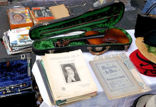 Beautiful old instruments and sheet music at the Brooklyn Flea's market at PS 321 in Park Slope, Brooklyn - Now open for the new season!