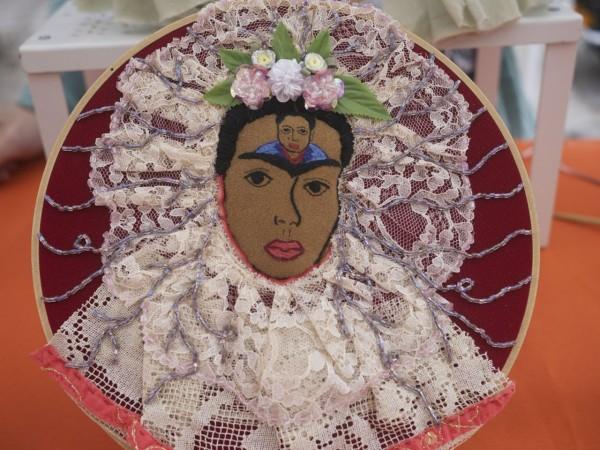 """Frida Kahlo Hoop Art, """"Diego On My Mind"""""""