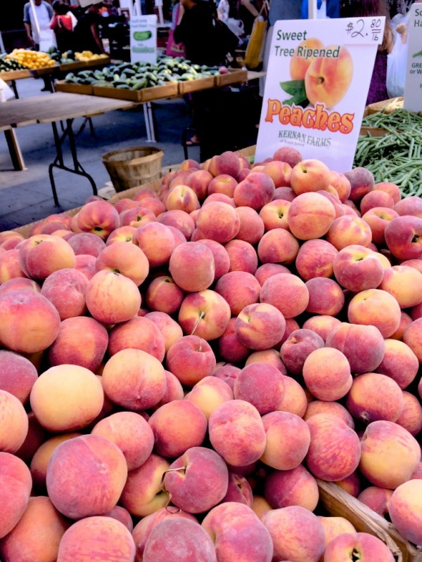 Piles of Sweet Peaches from Kernan Farms