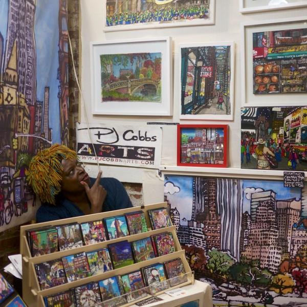 PJ Cobbs in her shop at Artists & Fleas in Williamsburg, Brooklyn