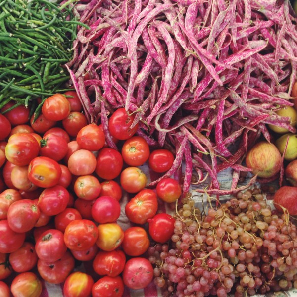 Tomatoes, Beans and Grapes in the Market