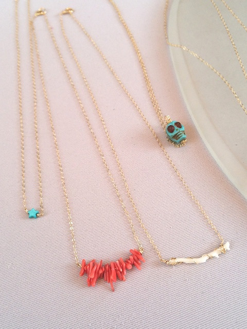 Cameo Sisters' Coral and Turquoise Necklaces at the Nolita Market
