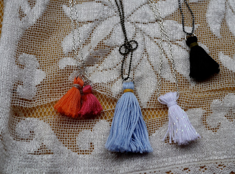 Sweet Tufted Necklaces by Patricia Dunn of White Rabbit at Flea Marqueta
