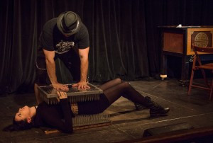 Lying on a bed of nails at Coney Island Sideshow School  (Photo by Eliza Rinn)