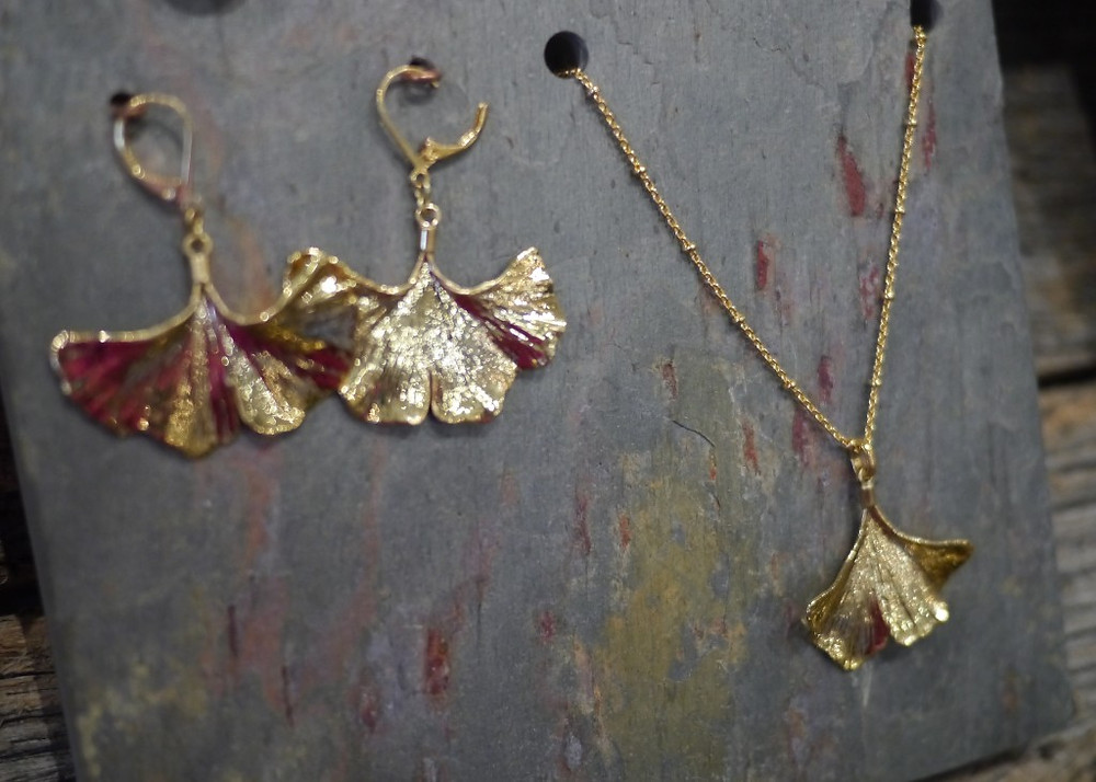 Gingo Leaf Jewelry Designs from Alyxia Leaf at Artists & Fleas