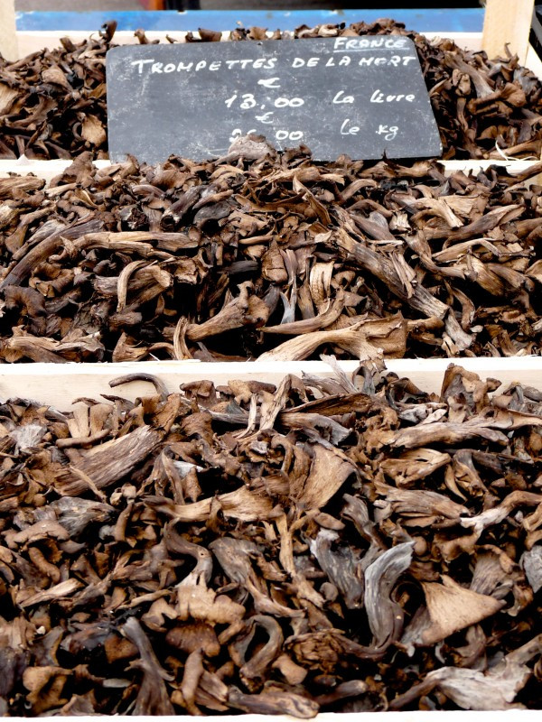 Black Chanterelles, or Trompettes de la Morte, in the Saint Antoine Market