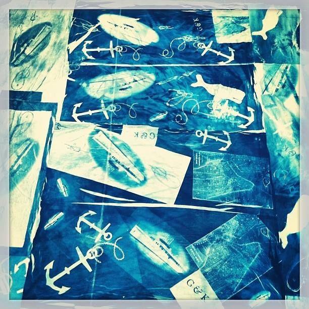 Cyanotype Blue Nautical Theme Custom Tablecloth
