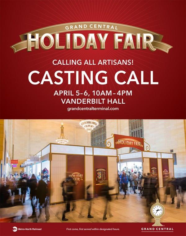 Grand Central Holiday Fair Casting Call April 5 & 6, 2017