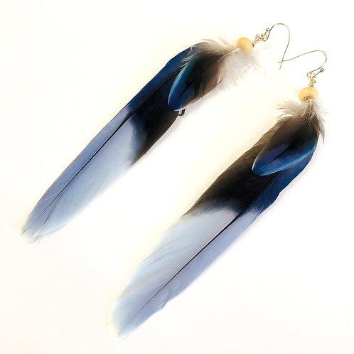Boucle d'oreilles plumes Ondes Aqua