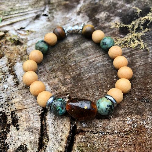 Bracelet unique Turquoise et Ambre (petit)