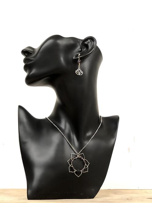 Ensemble Lotus collier & boucles d'oreilles