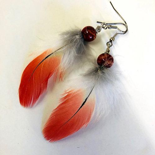 Boucle d'oreilles rouge guacamaya