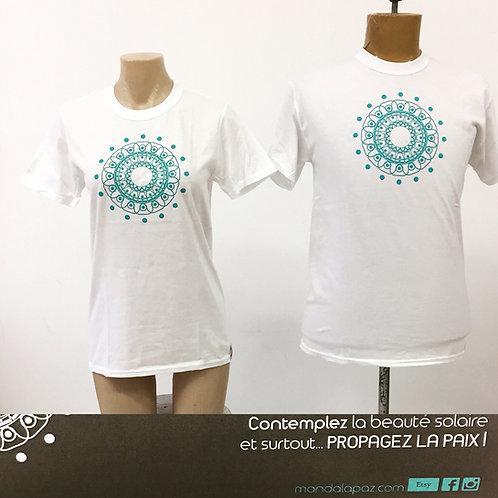 T-shirt Mandala Solaire Blanc _UNISEX