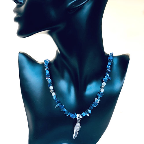 Collier Amulette Sodalite & Quartz  -AJNA-