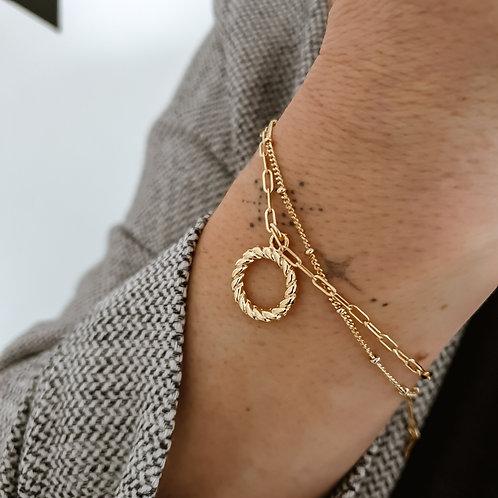 Dainty Gold Chain Bracelet Set