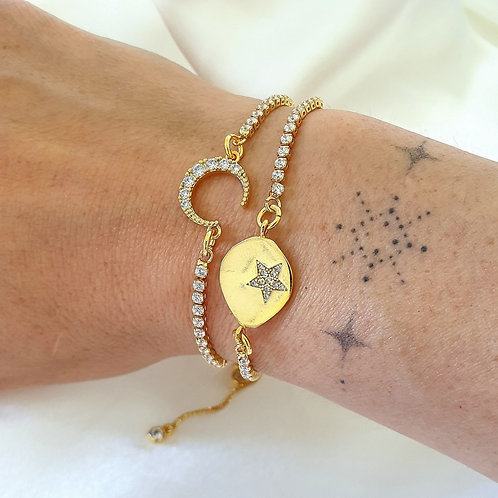 Moon And Star Charm Bracelet Gift Set