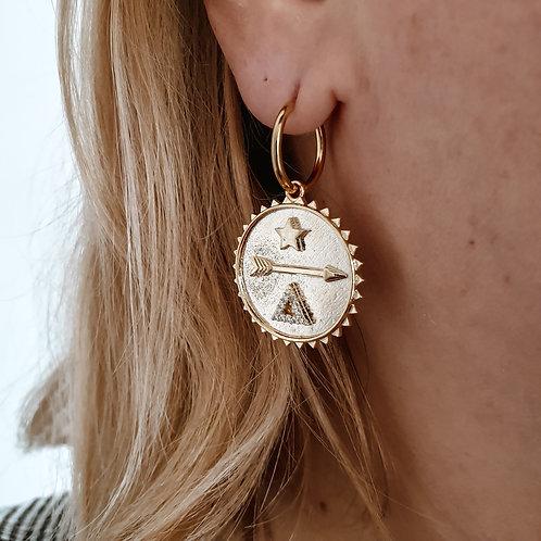 Coin Symbol Hoop Earrings