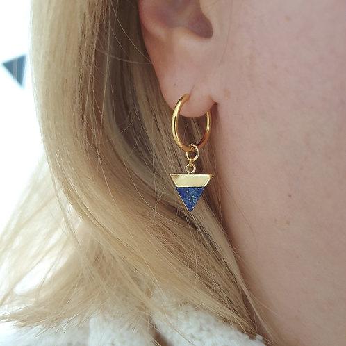 Lapis Gemstone Huggie Hoop Earrings