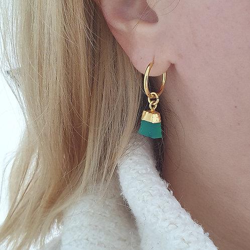 Green Onyx Gemstone Hoop Earrings