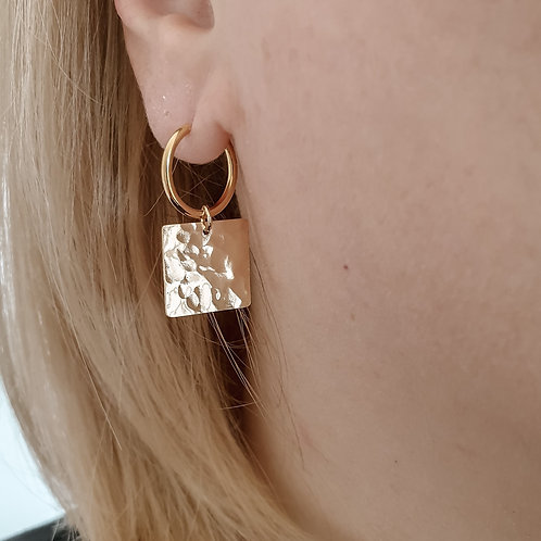 Hammered Square Hoops