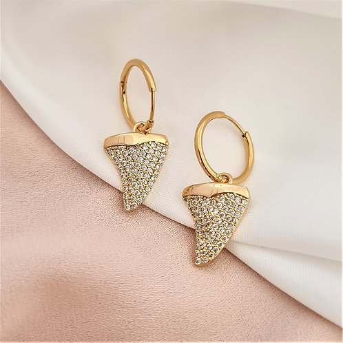 Pave Charm Gold Drop Hoops