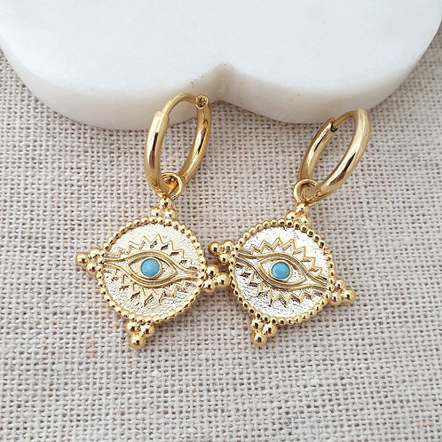Turquoise Medallion Drop Hoops