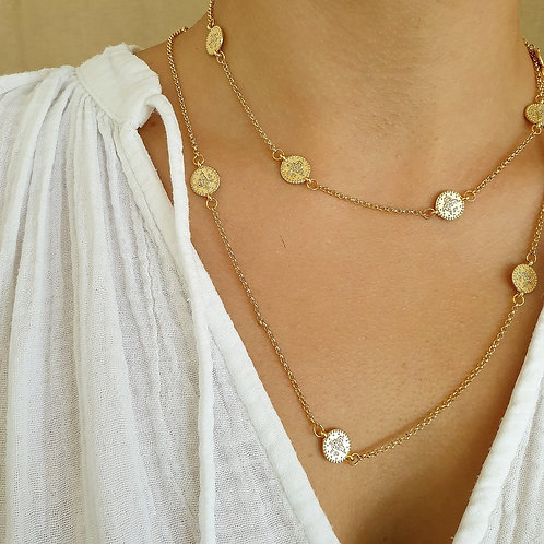 Gold Coin Layering Necklace Set