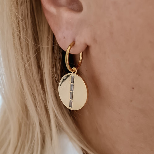 Square Zircon Disc Earrings
