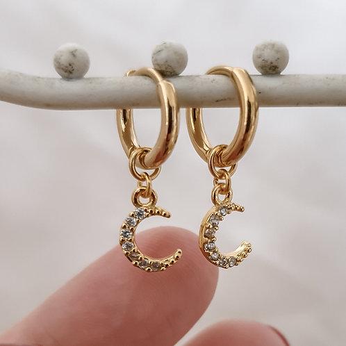 Small Moon Hoop Earrings
