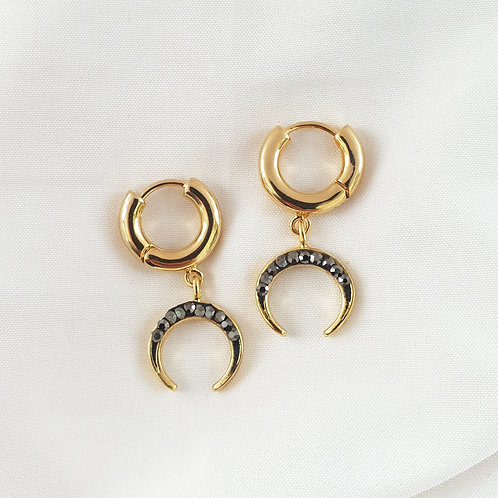 Black Pave Crescent Hoops