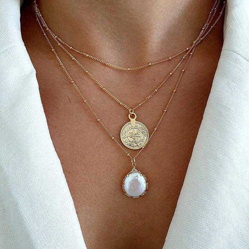 Set Of Three Layering Coin Necklace Set