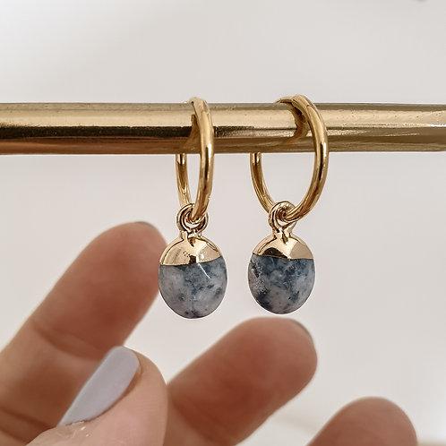 Sodalite Gemstone Hoop Earrings