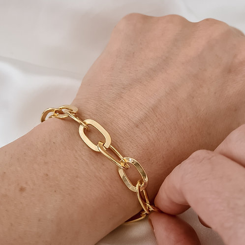 Gold T Bar Cable Chain Bracelet
