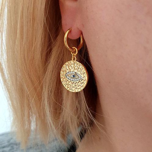 Evil Eye Coin Hoop Earrings