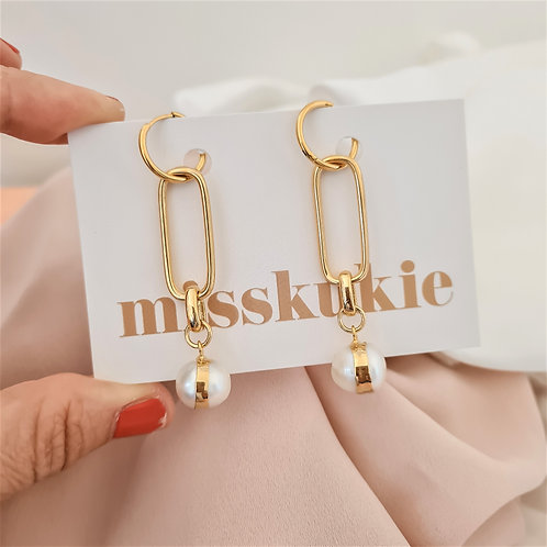 Gold Drop Hoops with Pearls