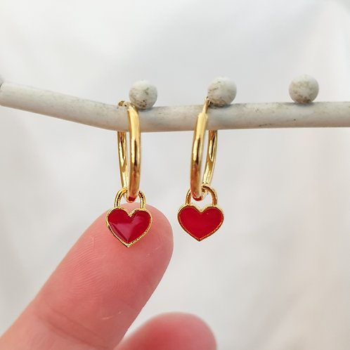 Small Red Heart Charm Hoops