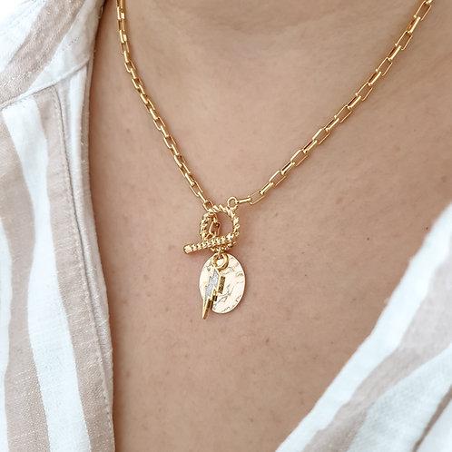 Toggle Lightning Disc Necklace