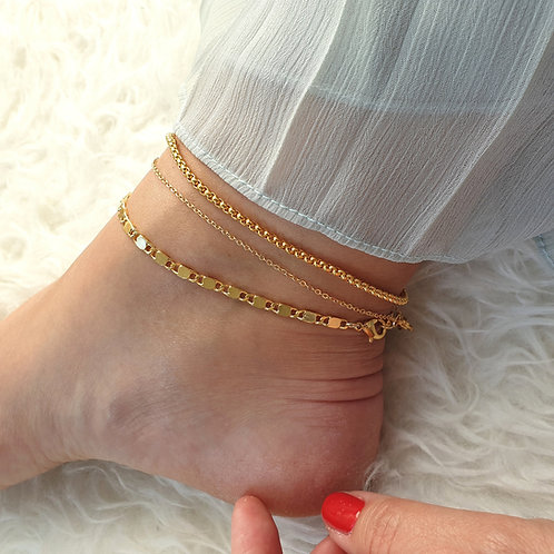 Layering Gold Anklet Set