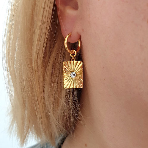 Rectangular Gold Hoop Earrings