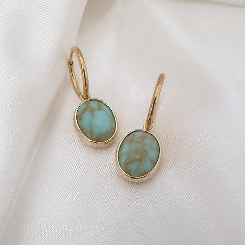 Turquoise Gemstone Hoops
