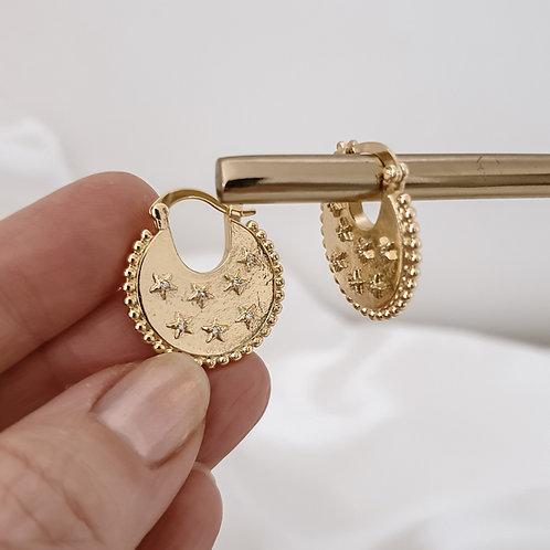 Star Gold Disc Hoop Earrings