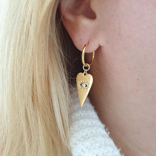 Charm Drop Hoop Earrings