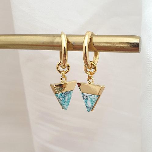 Marble Stone Huggie Hoop Earrings