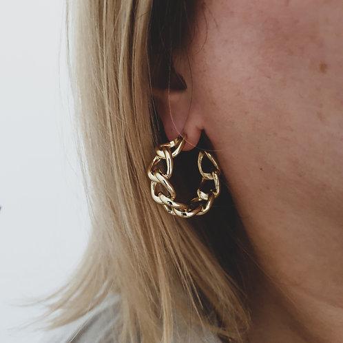 Gold Filled Chunky Chain Hoop Earrings