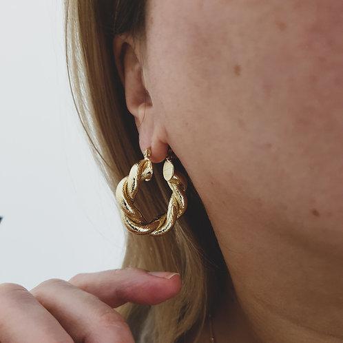 Gold Vermeil Chunky Twisted Hoop Earrings