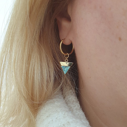 Marble Stone Huggie Hoop Earrings