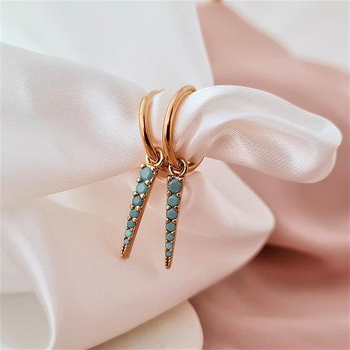 Turquoise Spike Drop Hoop Earrings
