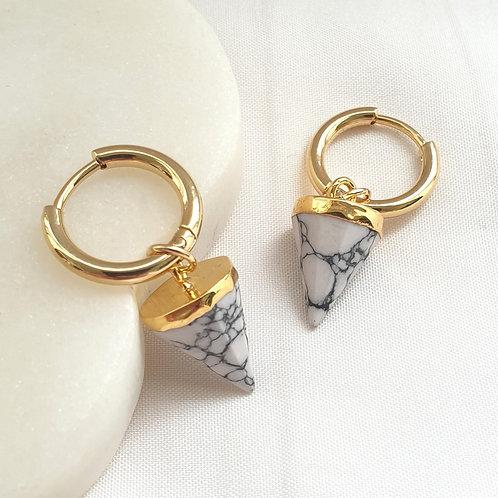 Howlite Gemstone Hoop Earrings